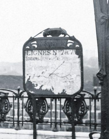 Station Pré Saint-Gervais, modèle du porte-plan d'origine. Coll. part.