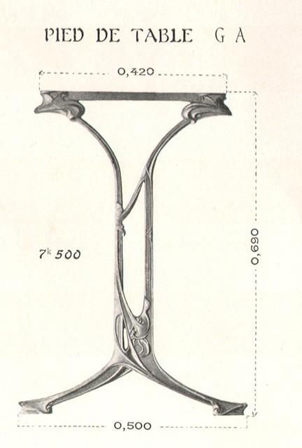Pied de table GA en fonte par Guimard, catalogue Guimard de la fonderie de Saint-Dizier, pl. 40, 1909.