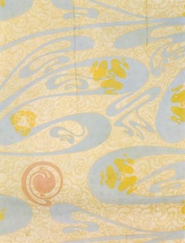 Fragment d'un lé de papier peint Le Mardelé. Coll. Bibliothèque Forney. Photo coll. part.